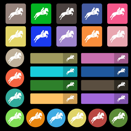 racing sign: Horse race. Derby. Equestrian sport. Silhouette of racing horse icon sign. Set from twenty seven multicolored flat buttons. Vector illustration Illustration