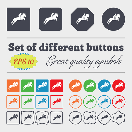 racing sign: Horse race. Derby. Equestrian sport. Silhouette of racing horse icon sign. Big set of colorful, diverse, high-quality buttons. Vector illustration Illustration