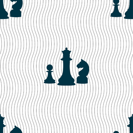sport mats: chess Game icon sign. Seamless pattern with geometric texture. Vector illustration