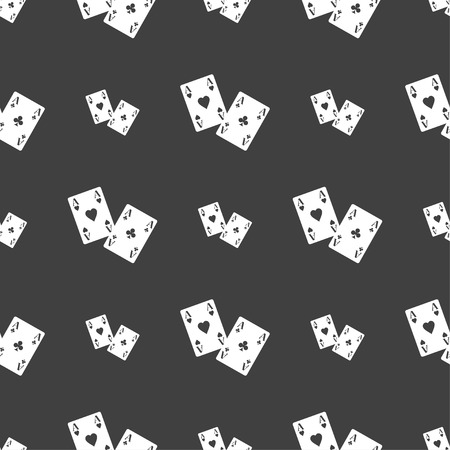 aces: Two Aces icon sign. Seamless pattern on a gray background. Vector illustration