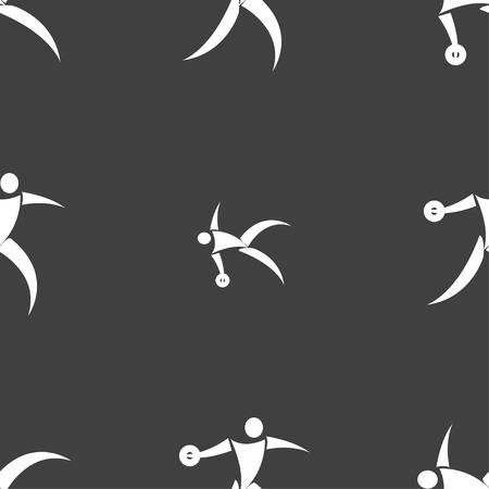 discus: Discus thrower icon sign. Seamless pattern on a gray background. Vector illustration