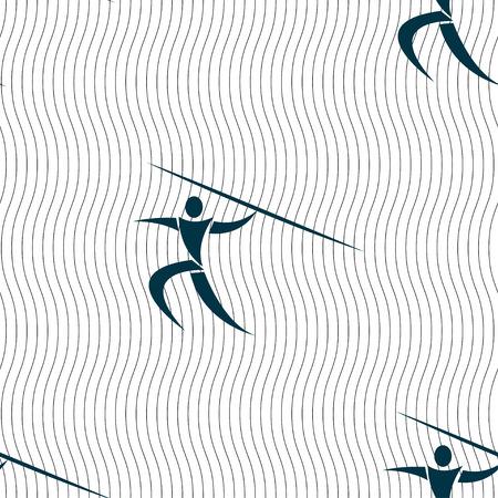 lanzamiento de jabalina: Deportes de verano, lanzamiento de jabalina icono de la muestra. Patrón sin fisuras con textura geométrica. ilustración vectorial