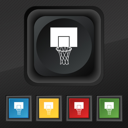 backboard: Basketball backboard icon symbol. Set of five colorful, stylish buttons on black texture for your design. Vector illustration