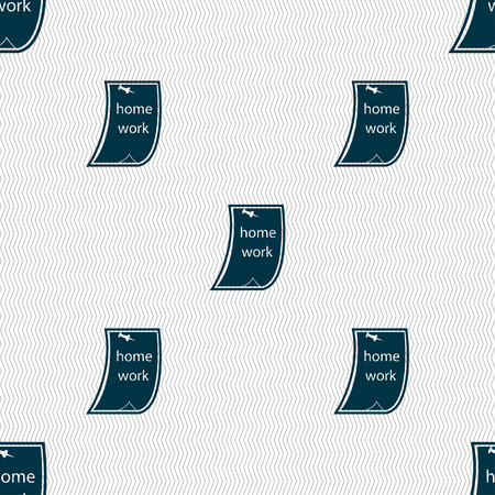 homework: Homework icon sign. Seamless pattern with geometric texture. Vector illustration Illustration