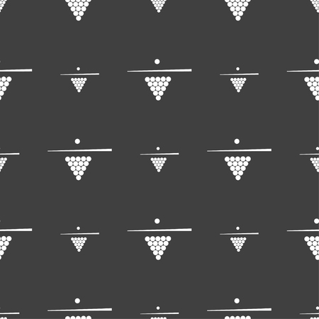 pool game: Billiard pool game equipment icon sign. Seamless pattern on a gray background. Vector illustration