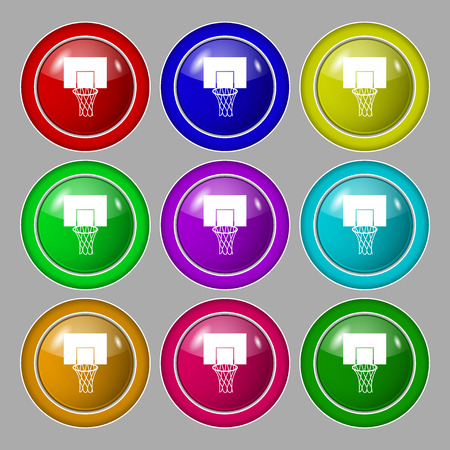 backboard: Basketball backboard icon sign. symbol on nine round colourful buttons. Vector illustration