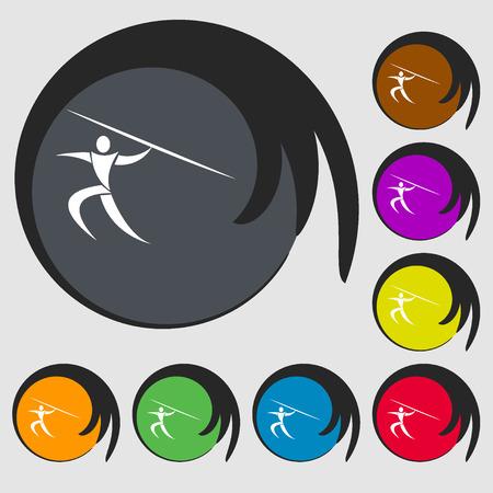 lanzamiento de jabalina: deportes de verano, Javelin icono tiro. S�mbolos en ocho botones de colores. ilustraci�n vectorial