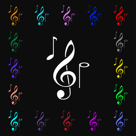 crotchets: musical notes icon sign. Lots of colorful symbols for your design. Vector illustration Illustration