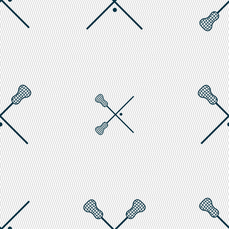 lax: Lacrosse Sticks crossed icon sign. Seamless pattern with geometric texture. Vector illustration
