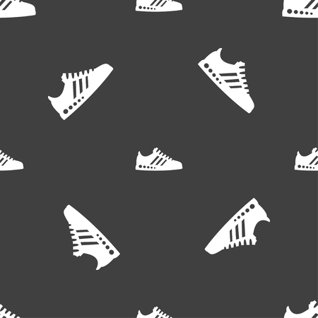 scamper: Sneakers icon sign. Seamless pattern on a gray background. Vector illustration