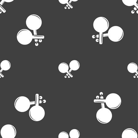 racquetball: Tenis icono de la muestra de cohetes. patrón transparente sobre un fondo gris. ilustración vectorial