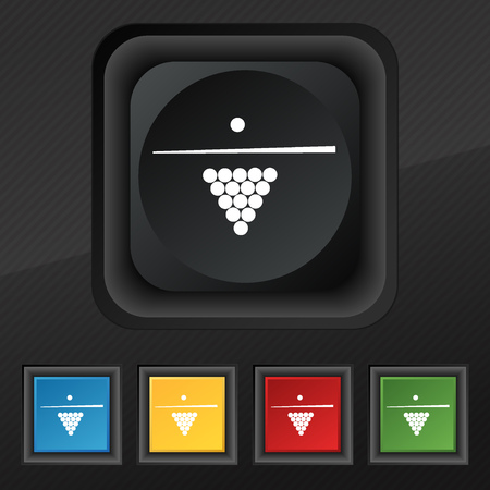 billiards rooms: Billiard pool game equipment icon symbol. Set of five colorful, stylish buttons on black texture for your design. Vector illustration Illustration