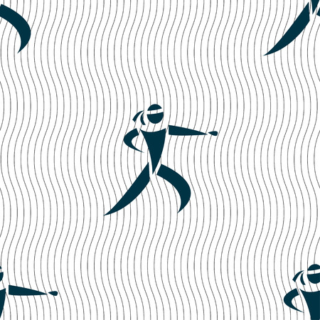 jujitsu: Karate kick icon sign. Seamless pattern with geometric texture. Vector illustration Illustration