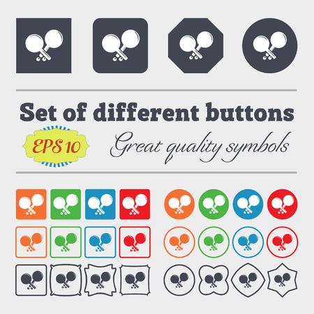 racquetball: Tenis icono de la muestra de cohetes. Gran conjunto de coloridos botones diversos, y de alta calidad. ilustración vectorial
