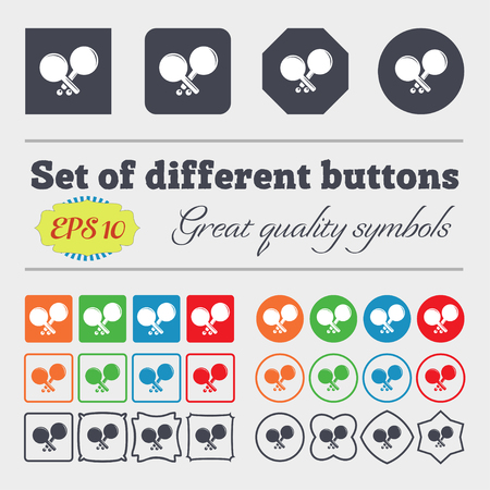racquetball: Tennis rocket icon sign. Big set of colorful, diverse, high-quality buttons. Vector illustration Vectores