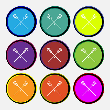 lax: Lacrosse Sticks crossed icon sign. Nine multi colored round buttons. Vector illustration Illustration