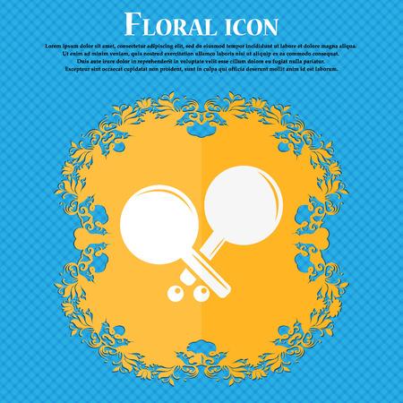 racquetball: icono de cohetes tenis. El diseño plano de flores sobre un fondo abstracto azul con el lugar para su texto. ilustración vectorial