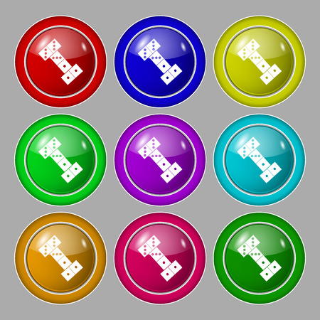 gambling stone: domino icon sign. symbol on nine round colourful buttons. Vector illustration Illustration