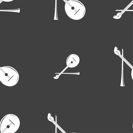 balalaika: Balalaika icon sign. Seamless pattern on a gray background. Vector illustration