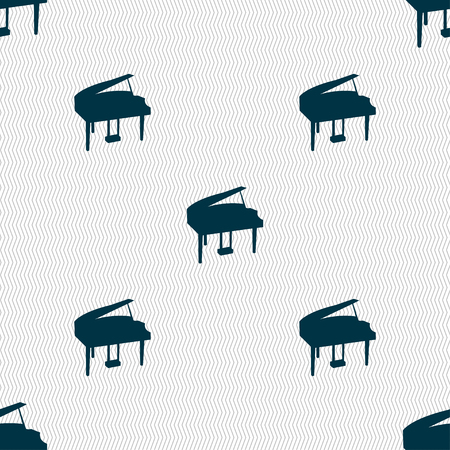 classical arts: Grand piano icon sign. Seamless pattern with geometric texture. Vector illustration