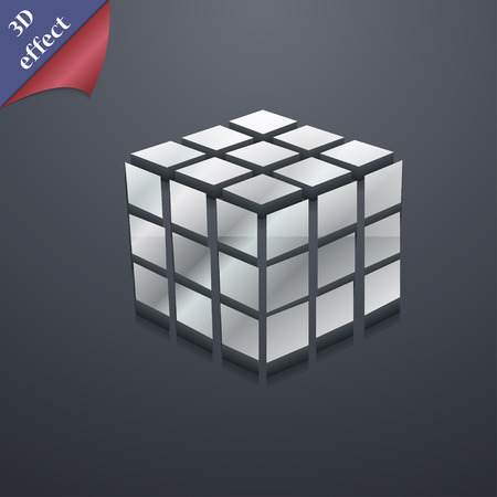 cube puzzle: A three sided cube puzzle box in 3D icon symbol. 3D style. Trendy, modern design with space for your text Vector illustration