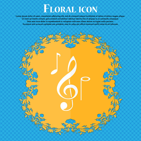 crotchets: musical notes icon. Floral flat design on a blue abstract background with place for your text. Vector illustration