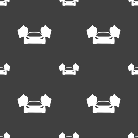 ergonomic: sports car icon sign. Seamless pattern on a gray background. Vector illustration