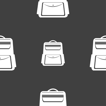 school backpack: School Backpack icon sign. Seamless pattern on a gray background. Vector illustration