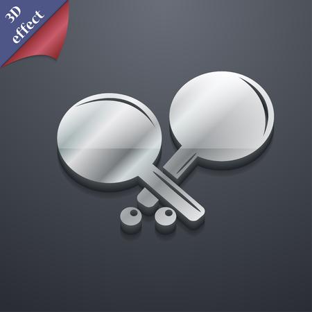 racquetball: cohete Tenis icono de s�mbolo. Plantillas en 3D. dise�o de moda, moderno, con espacio para el texto ilustraci�n vectorial