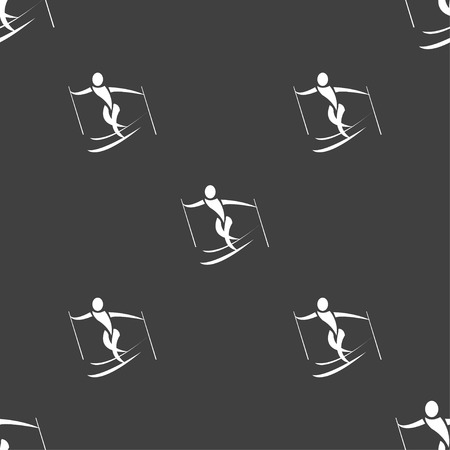 slalom: Skier icon sign. Seamless pattern on a gray background. Vector illustration