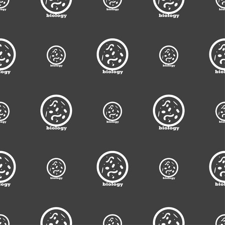 vibrio: bacteria and virus disease, biology cell under microscope icon sign. Seamless pattern on a gray background. Vector illustration