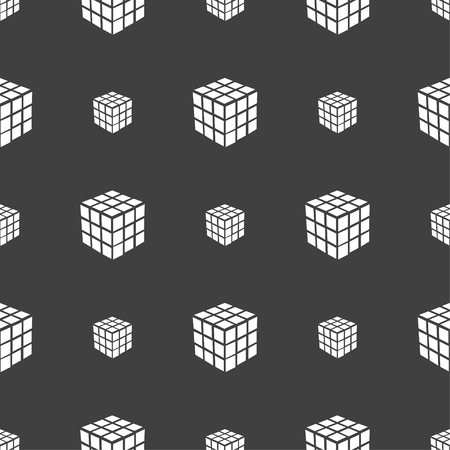 cube puzzle: A three sided cube puzzle box in 3D icon sign. Seamless pattern on a gray background. Vector illustration Illustration