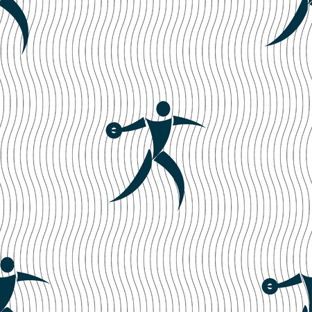 thrower: Discus thrower icon sign. Seamless pattern with geometric texture. Vector illustration