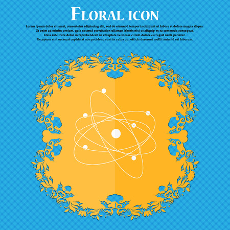 the big bang: physics, atom, big bang icon. Floral flat design on a blue abstract background with place for your text. Vector illustration