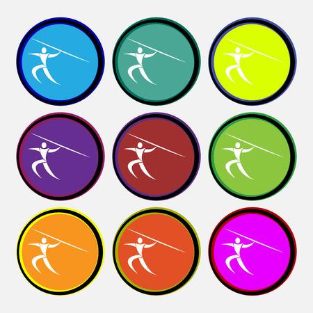 lanzamiento de jabalina: Deportes de verano, lanzamiento de jabalina icono de la muestra. Nueve de varios botones de colores redondos. ilustraci�n vectorial