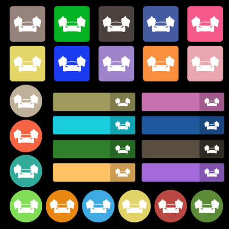 ergonomic: sports car icon sign. Set from twenty seven multicolored flat buttons. Vector illustration Illustration