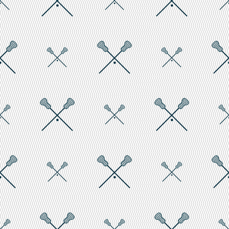 crosse: Lacrosse Sticks crossed icon sign. Seamless pattern with geometric texture. Vector illustration