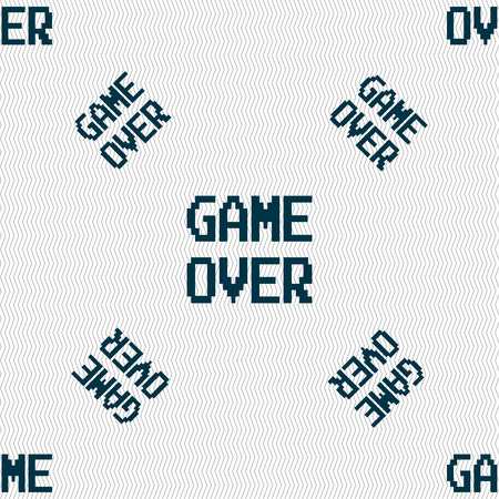 button front: Game over concept icon sign. Seamless pattern with geometric texture. Vector illustration