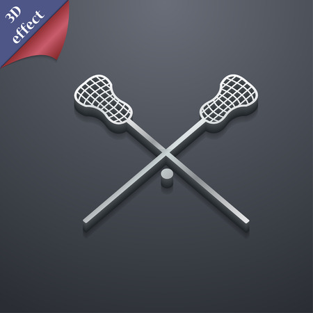 lax: Lacrosse Sticks crossed icon symbol. 3D style. Trendy, modern design with space for your text Vector illustration