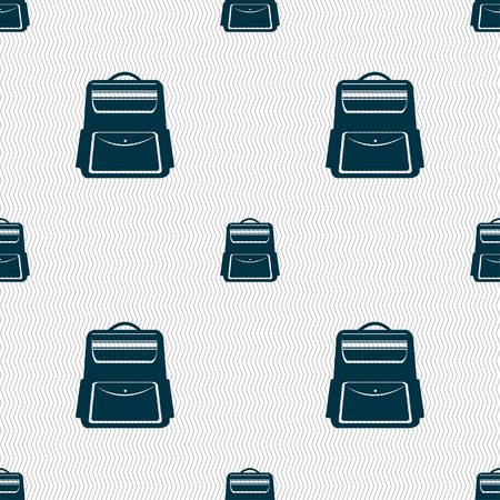 back pack: School Backpack icon sign. Seamless pattern with geometric texture. Vector illustration Illustration