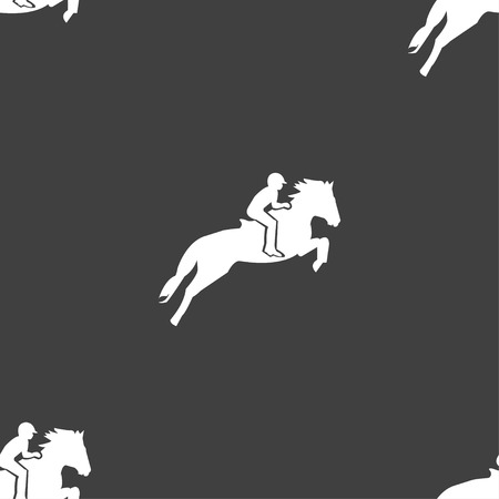 racing sign: Horse race. Derby. Equestrian sport. Silhouette of racing horse icon sign. Seamless pattern on a gray background. Vector illustration