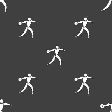thrower: Discus thrower icon sign. Seamless pattern on a gray background. Vector illustration