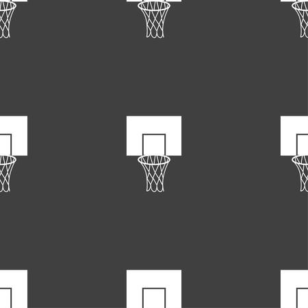 backboard: Basketball backboard icon sign. Seamless pattern on a gray background. Vector illustration Illustration