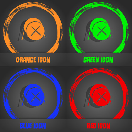 red drum: Drum icon. Fashionable modern style. In the orange, green, blue, red design. Vector illustration