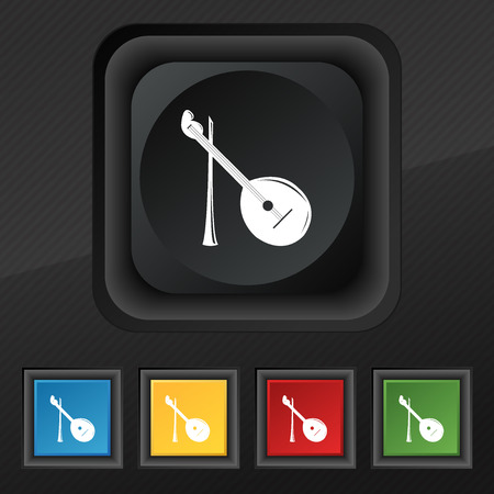 balalaika: Balalaika icon symbol. Set of five colorful, stylish buttons on black texture for your design. Vector illustration