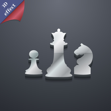 interface scheme: chess Game icon symbol. 3D style. Trendy, modern design with space for your text Vector illustration Illustration