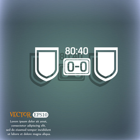 bluegreen: Scoreboard icon. On the blue-green abstract background with shadow and space for your text. Vector illustration