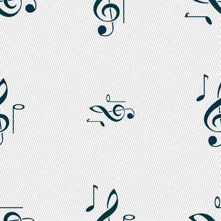 crotchets: musical notes icon sign. Seamless pattern with geometric texture. Vector illustration