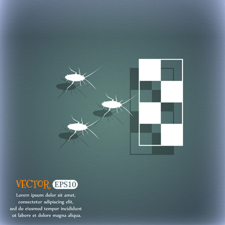 disgusting animal: cockroach races icon. On the blue-green abstract background with shadow and space for your text. Vector illustration