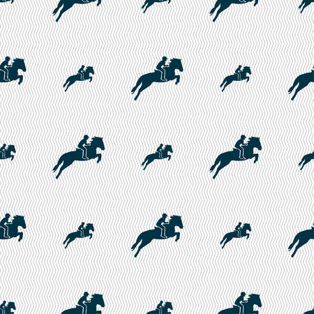 racing sign: Horse race. Derby. Equestrian sport. Silhouette of racing horse icon sign. Seamless pattern with geometric texture. Vector illustration